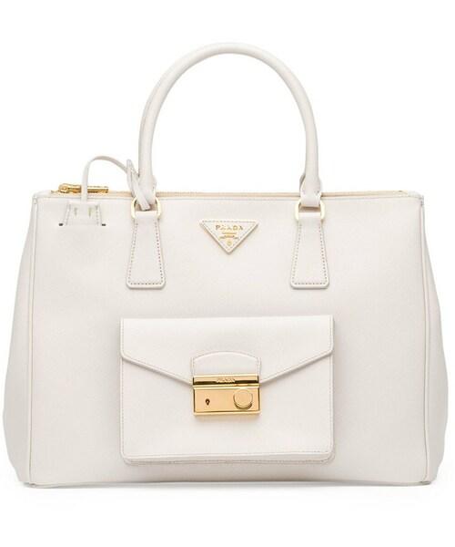 77bd2d4cc843 Prada(プラダ)の「Prada Saffiano Galleria Tote with Pocket, White (Talco)(トートバッグ)」  - WEAR