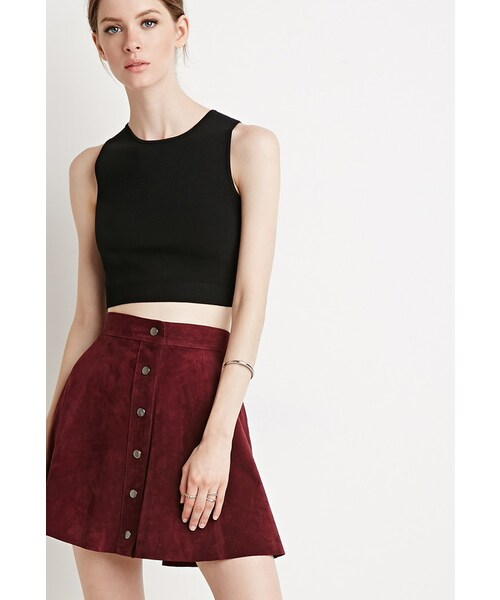 0bab54e15 Forever 21,FOREVER 21 Buttoned Suede Skirt - WEAR