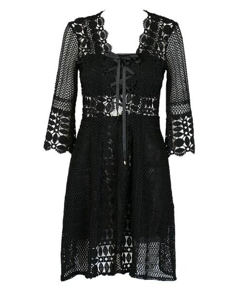 choies チョイース の black v neck tie front 3 4 sleeve crochet