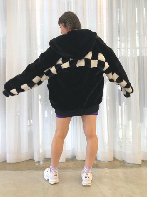 LHP WOMEN Laforet原宿店RENAさんのブルゾン「DankeSchon/ダンケシェーン/Checker Fur Blouson(DANKE SCHON ダンケシェーン)」を使ったコーディネート