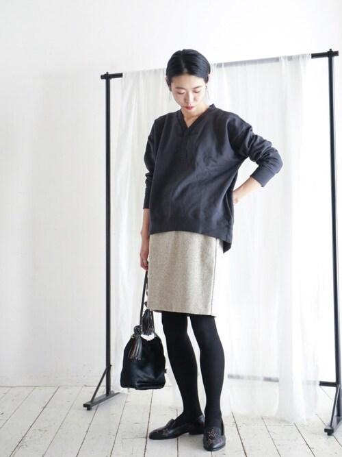 NOMBRE IMPAIR & FIL DE FER アトリエwatanabe.さんのTシャツ/カットソー「裏起毛裏毛 ヘンリーネックカットソー(FIL DE FER フィルデフェール)」を使ったコーディネート