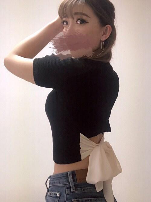 sayakaさんのTシャツ/カットソー「BACKリボントップス(EVRIS エヴリス)」を使ったコーディネート