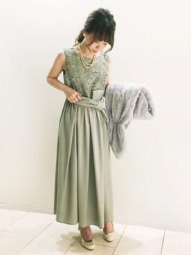197a47d8e10cc JINES|Jines Officialさんのドレス「レース&ジョーゼット スカート ロングドレス
