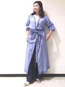 61ff18ae5bfca ドレス. H160   着用:38. JINES|Jines Officialさんのワンピース「ボイルストライプスカラップ刺繍前開きワンピース(