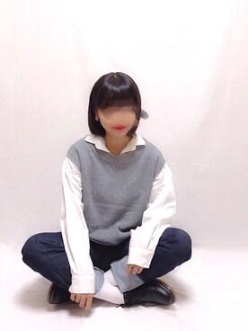 yuaさんの「SET2点 スキッパーシャツ+ニットベスト ●(earth music&ecology|アースミュージックアンドエコロジー)」を使ったコーディネート