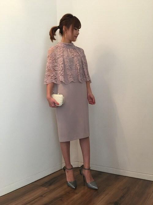 7a49463dea520 パーティードレス通販GIRLGIRL staffさんのドレス「レースケープ風コクーン結婚式ワンピース・