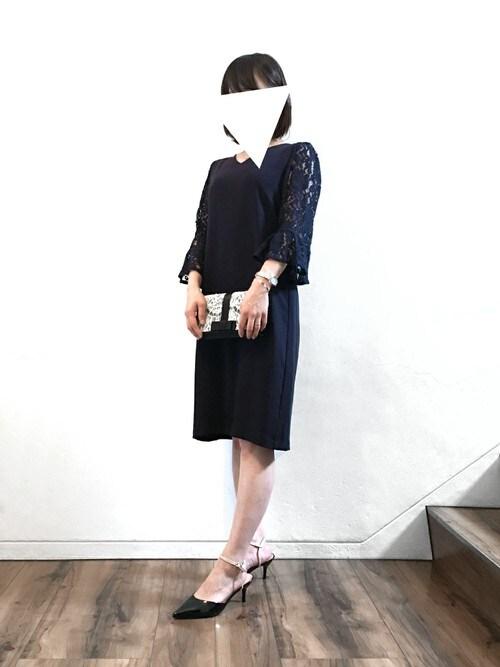 6ff2d53960ce4 パーティードレス通販GIRLGIRL staffさんのドレス「レースフレアスリーブVネック結婚式ワンピース