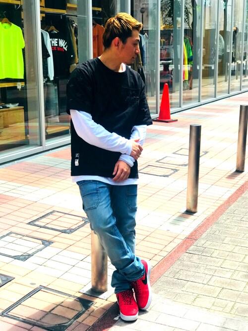 AVIREX 熊本K長袖愛好会さんのTシャツ/カットソー「AVIREX/アヴィレックス/CREW NECK T-SHIRT STARS&STRIPES/クルーネックティーシャツ スターズ&ストライプス(AVIREX|アヴィレックス)」を使ったコーディネート