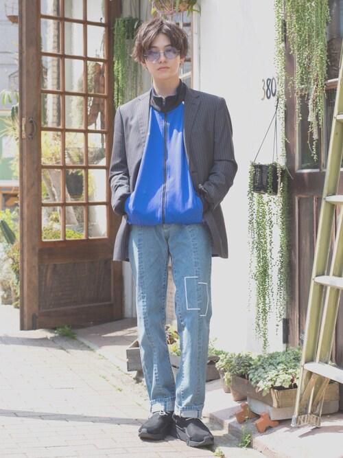 こんどうようぢさんのサングラス「オクタゴン型ライトカラーレンズサングラス(Zoff|ゾフ)」を使ったコーディネート