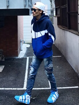 MOYAさんの「NIKE ナイキ AS M NSW HBR HOODIE FZ BB STMT ナイキ HBR BB STMT フルジップ フーディ BQ6459 451OBSIDIAN/WHITE/INDIGO FORCE/(INDIGO FORCE)(NIKE)」を使ったコーディネート