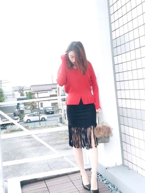SAISON DE PAPILLONmiaさんのニット/セーター「11色4size裾フレアペプラムニットトップス(SAISON DE PAPILLON|セゾンドパピヨン)」を使ったコーディネート