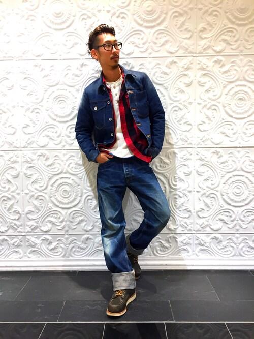 AVIREX 船橋Daiki habaさんのシャツ/ブラウス「avirex/アヴィレックス/メンズ/ L/S FLANNEL BROCK CHECK SHIRT/ フランネル ブロックチェック シャツ(AVIREX|アヴィレックス)」を使ったコーディネート