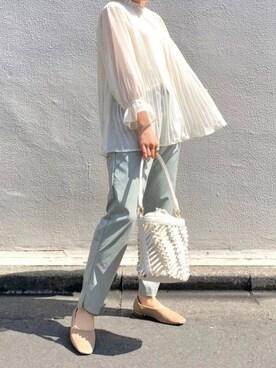 ViS ルミネエスト shokoさんのシャツ/ブラウス「シフォンプリーツスタンドブラウス(ViS ビス)」を使ったコーディネート