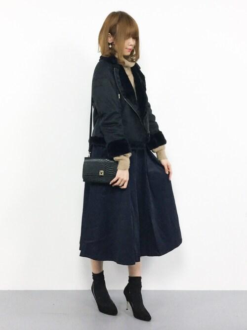 ZOZOTOWNmiyaseさんのスカート「コーディロイウエストリボンタックスカート1144(merlot|メルロー)」を使ったコーディネート