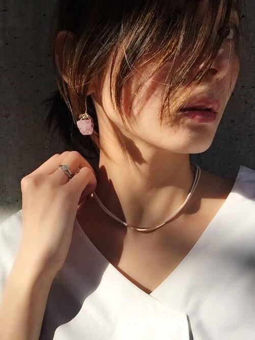 glamb 本社スタッフ【Laymee】中村沙織さんのピアス(両耳用)「Amethyst pierce(LAYMEE レイミー)」を使ったコーディネート