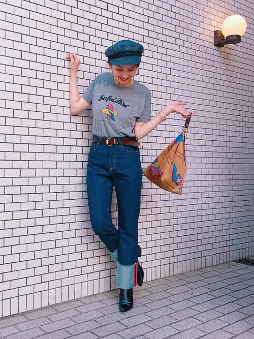 glamb 本社スタッフ【Laymee】中村沙織さんのハット「Leed marin hat / ムーディーベレー(LAYMEE|レイミー)」を使ったコーディネート
