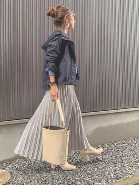 Haru☆さんのスカート「ジョーゼットプリーツロングスカート(CORNERS|コーナーズ)」を使ったコーディネート