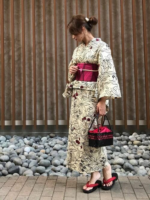 ベージュ プレタ浴衣 作り帯 30代 花火大会デート