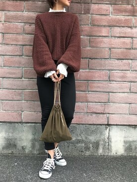 Kumika☆さんの「ボリュームスリーブニット(TODAYFUL|トゥデイフル)」を使ったコーディネート