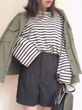 0e2231df5a1c ☆fairy☆さんの「ボーダーボクシーフィットTシャツ(DHOLIC|ディーホリック