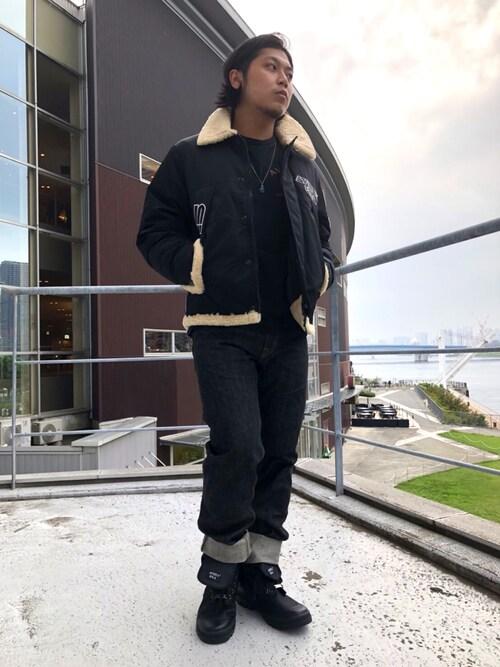 AVIREX 豊洲RYOさんのブーツ「スコーピオン ハイ ナイロン/ SCORPION HI NYLON/ avirex/ アヴィレックス(AVIREX アヴィレックス)」を使ったコーディネート