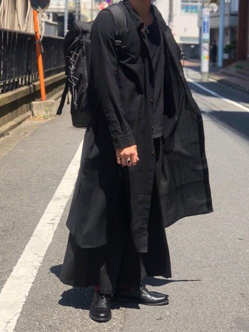 YOHJI YAMAMOTO(ヨウジヤマモト)のリュックコーデ