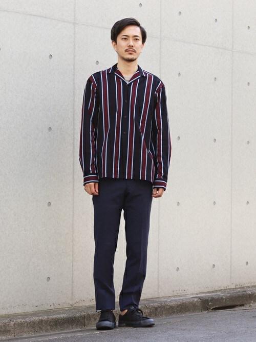 WEB・EC部シマダさんのシャツ/ブラウス「ラッセル ストライプオープンカラーシャツ(TOMORROWLAND|トゥモローランド)」を使ったコーディネート