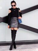 "Sheree is wearing Blank NYC ""BLANK NYC Blank NYC Leather Look Mini Skirt With Button Front & Utility Pockets"""