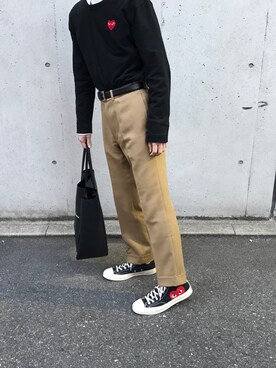 3a7c3a9ecab Kou is wearing KAIKO. 2018.4 15. Comme des Garcons Sneakers