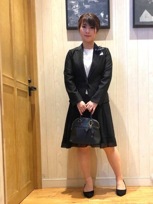 Yukaさんの「【WEB限定サイズ】【洗える】ストレッチドビーテーラードジャケット(SHOO・LA・RUE)」を使ったコーディネート
