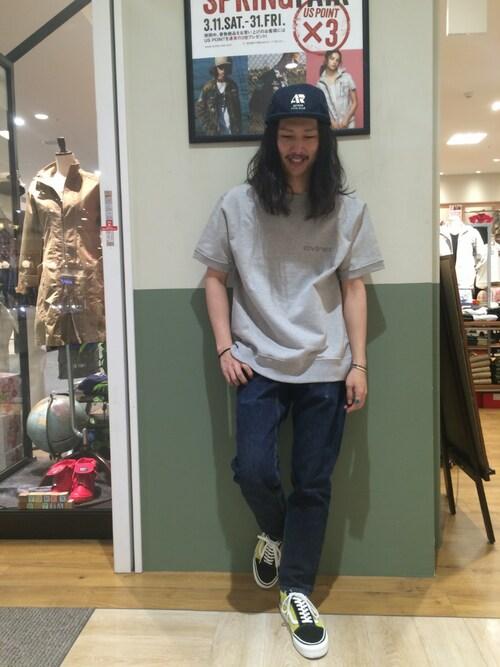 AVIREX 岡山purinさんのTシャツ/カットソー「【直営店限定】 S/S USA SWEAT T-SHIRT/ アメリカ製 スウェット Tシャツ/ Made in U.S.A(AVIREX|アヴィレックス)」を使ったコーディネート