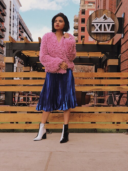 "Kreshma Nair is wearing Endless Rose ""endless rose Pleated Velvet Skirt"""
