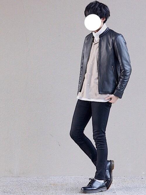 yasuさんのライダースジャケット「LIDNM/リドム/ラムレザーシングルライダース(LIDNM|リドム)」を使ったコーディネート