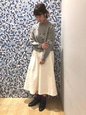 04aa811c39932 earth music&ecology にける☆さんのニット/セーター「・花柄ジャガード