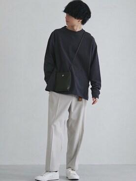 げんじさんのTシャツ/カットソー「【WYM LIDNM】HEAVY WEIGHT OVERSIZED LS-TEE -2021 S/S 2nd COLLECTION-(WYM LIDNM ウィム バイ リドム)」を使ったコーディネート