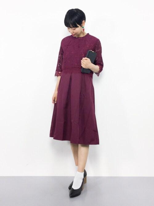 ZOZOTOWNambiさんのドレス「総レースタックフレアワンピース7587(merlot plus メルロープリュス)」を使ったコーディネート