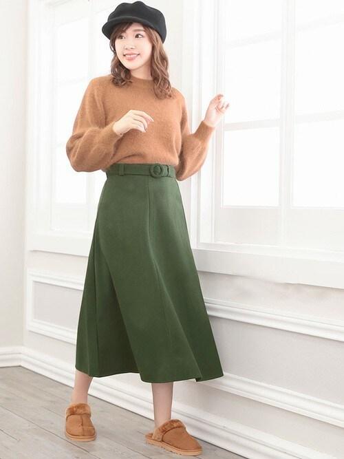 レディースファッション通販NinaNina(ニーナ)さんのキャスケット「フェルトキャスケット(Nina ニーナ)」を使ったコーディネート