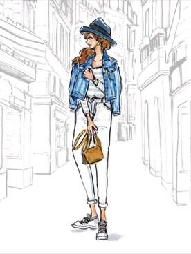 デニムジャケットを使ったファッションイラストのコーディネート一覧