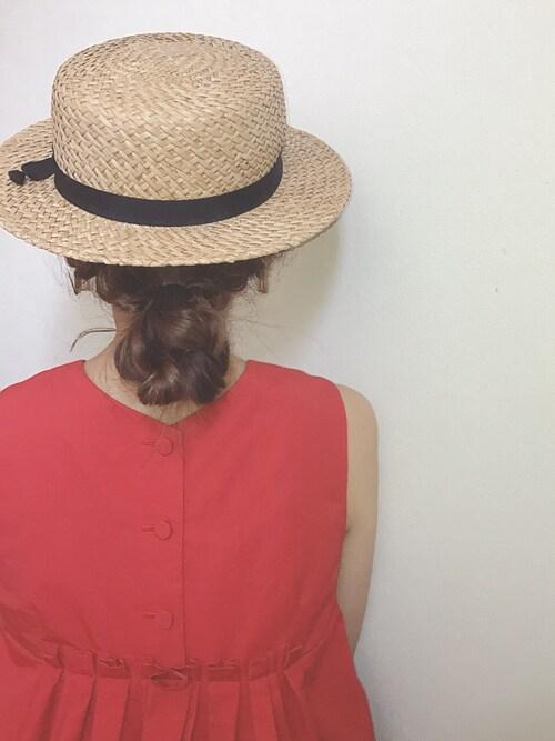 帽子 ゆるふわヘアアレンジ アップ 30代ママ