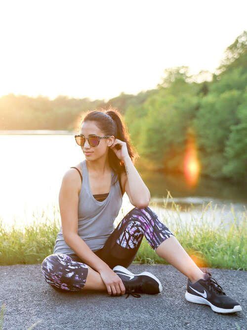 shell is wearing Ellie active wear subscription box