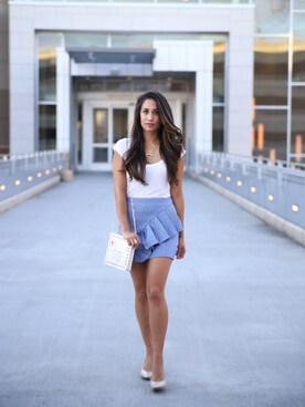 "shell is wearing TOPSHOP ""Topshop Gingham ruffle jersey mini skirt"""