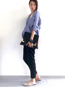 soliさんの「WOMEN エクストラファインコットンオーバーサイズストライプシャツ(長袖)(ユニクロ|ユニクロ)」を使ったコーディネート