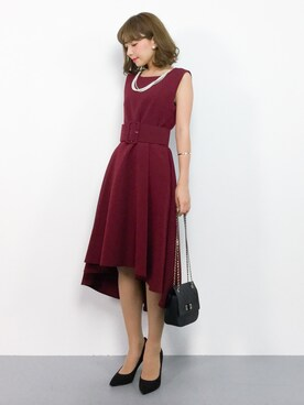 617cb246aa257 ayumi さんの「 結婚式・お呼ばれ対応ワンピースドレス ベルト付きフィッシュ