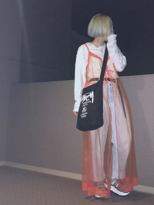綾さんの「チュールレースキャミソールロングワンピース1428(merlot)」を使ったコーディネート