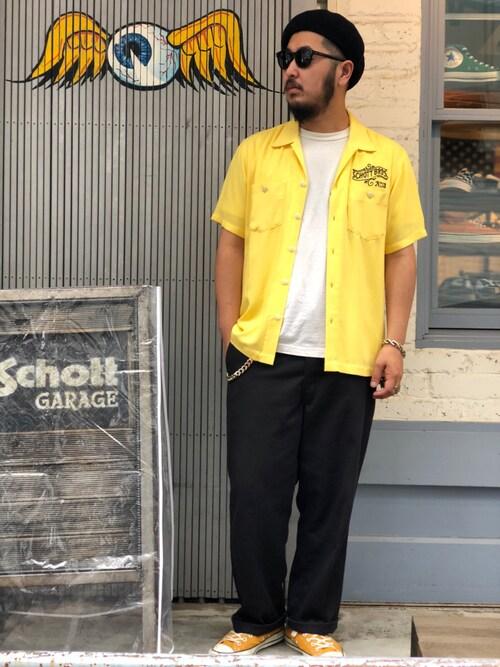 Schott Garageomata takayaさんのシャツ/ブラウス「Schott/ショット/OPEN COLLAR SHIRT NO.13/オープンカラーシャツ(schott|ショット)」を使ったコーディネート