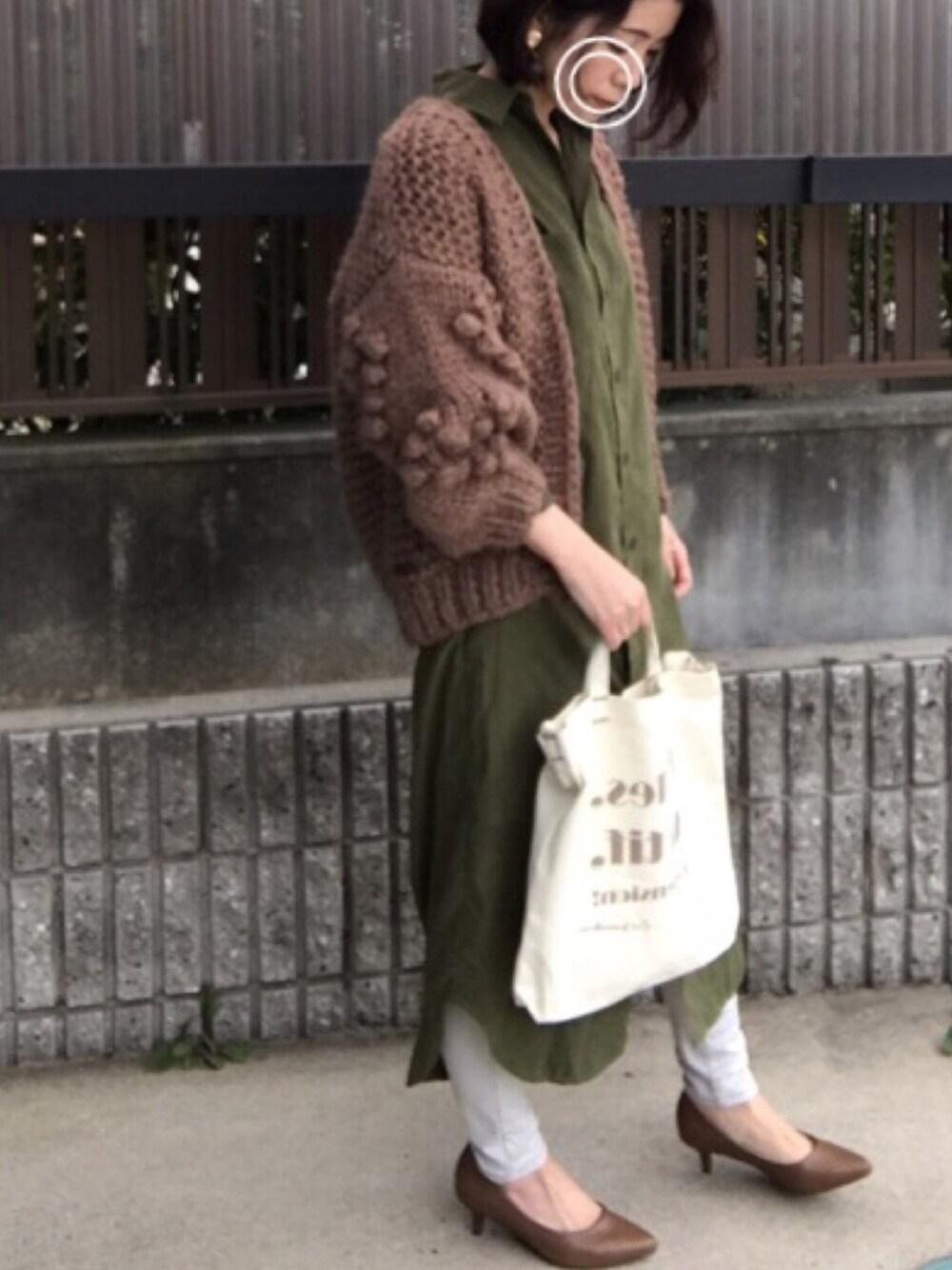 秋冬シャツワンピ コーデ 美人アラフォー