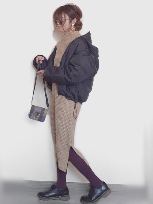 Miiさんの「フード付きダウンジャケット(しまむら)」を使ったコーディネート