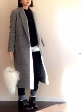 a___miさんの「WOOL-BLEND DOUBLE BREASTED CT(MOUSSY)」を使ったコーディネート