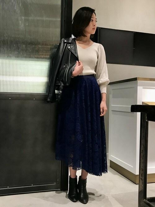 NINE LUCUA 大阪Mai Onoさんのニット/セーター「パフスリーブリブプルオーバー(NINE|ナイン)」を使ったコーディネート
