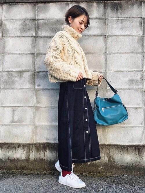 悠喜さんのショルダーバッグ「【2way】ワイドベルトシンプルレザーショルダーバック/トートバッグ(florist|フローリスト)」を使ったコーディネート